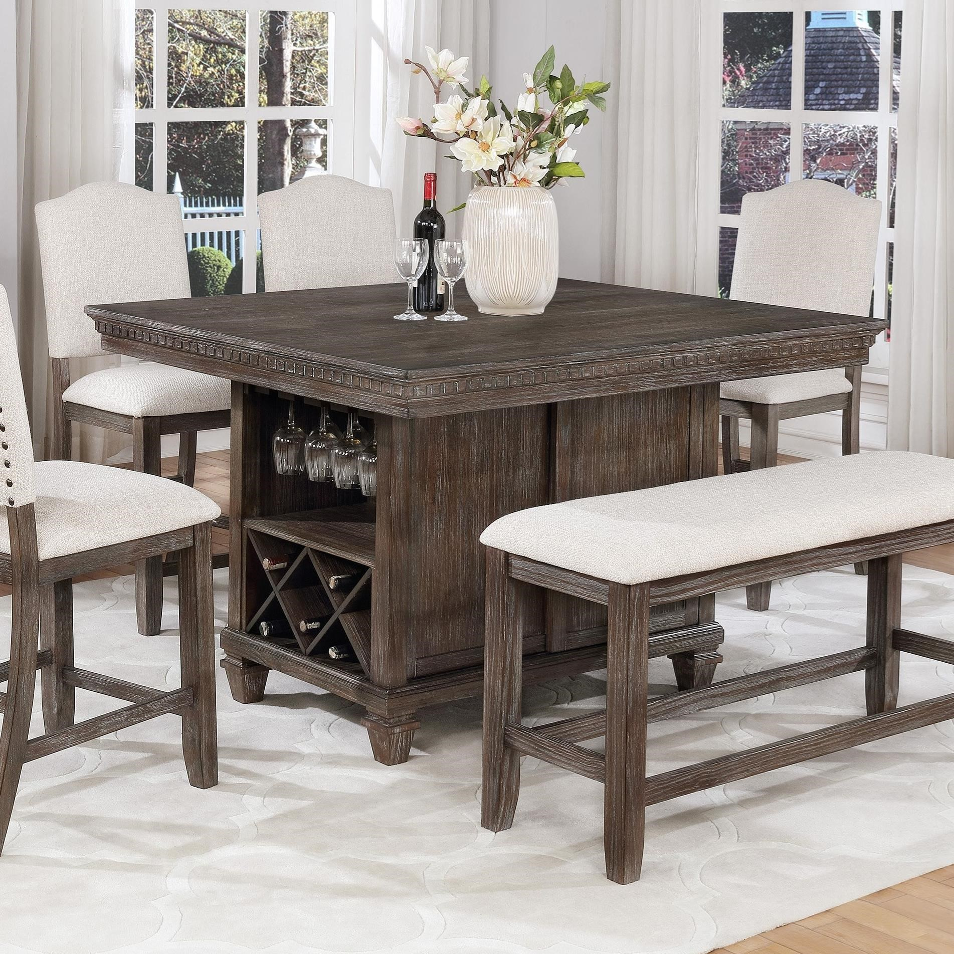 Crown Mark Regent Counter Height Table With Built In Wine In 2018 Overstreet Bar Height Dining Tables (View 7 of 15)