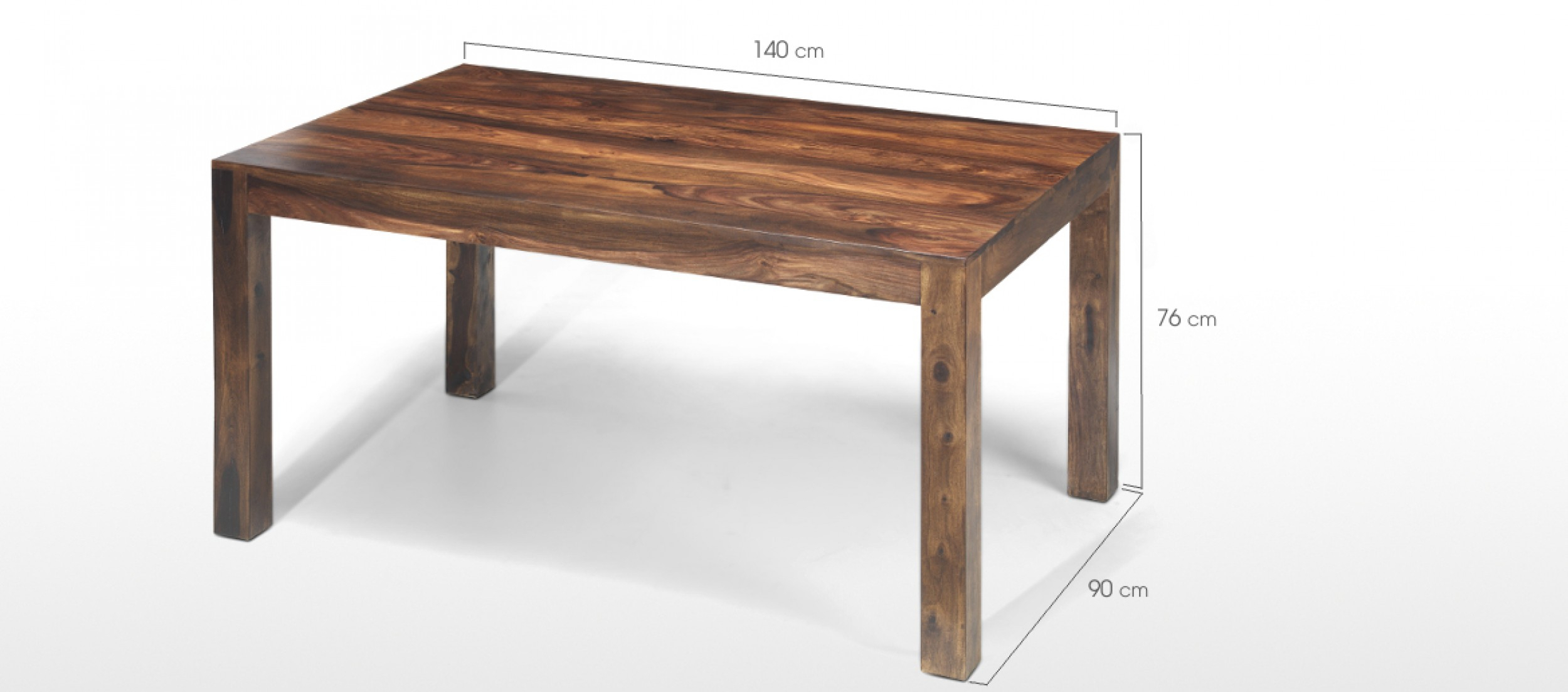 Cube Sheesham 140 Cm Dining Table And 4 Chairs | Quercus With Regard To Current Balfour 39'' Dining Tables (View 5 of 15)