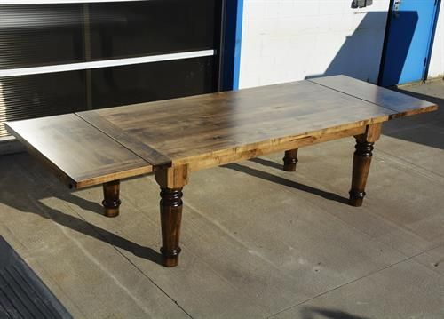 Custom Wormy Maple Spindle Harvest Table With Extensions For Latest Geneve Maple Solid Wood Pedestal Dining Tables (View 3 of 15)