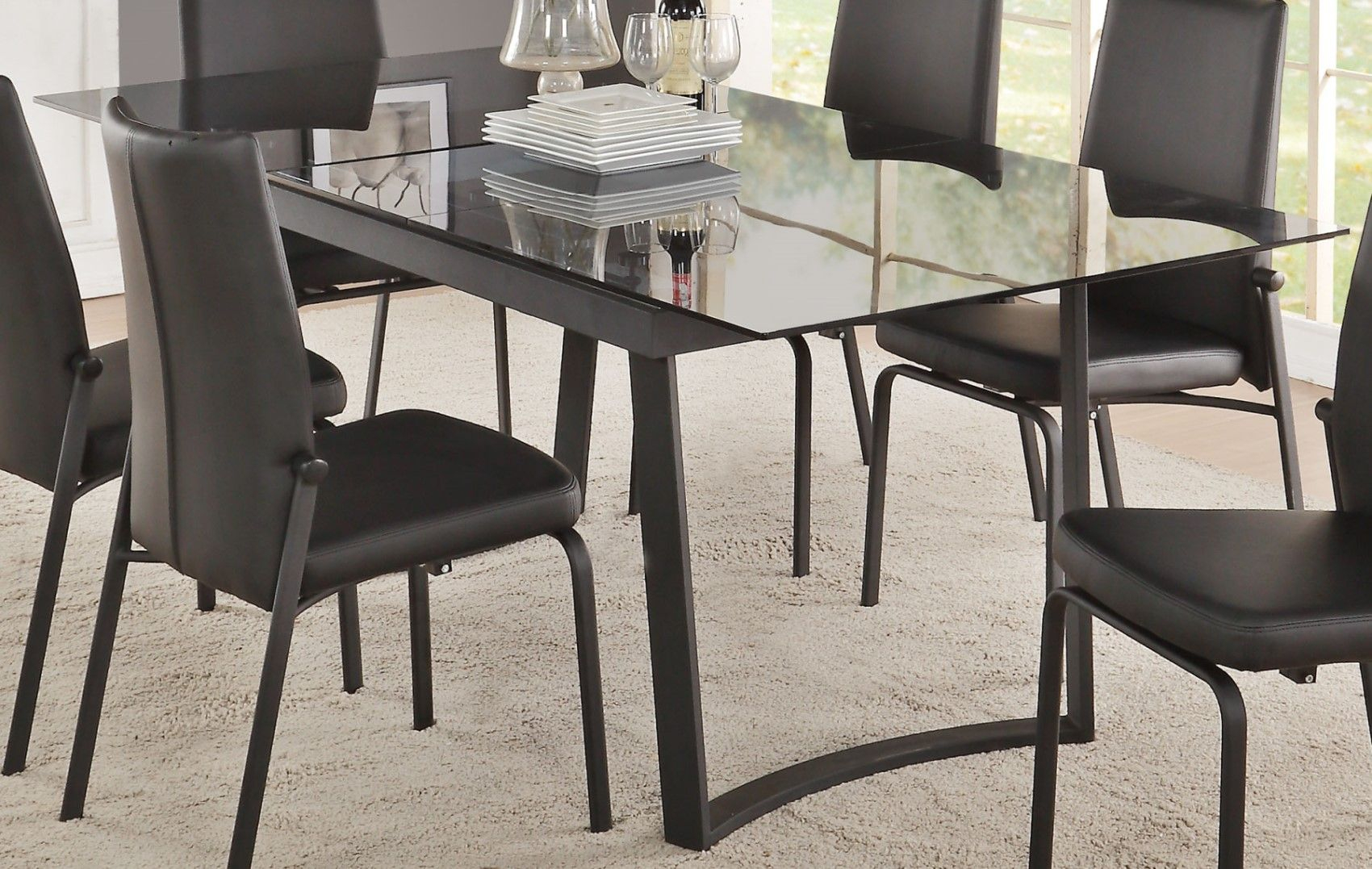 """Cyrene Contemporary 63"""" 79"""" Smokey Glass Top Dining Table With Newest Bekasi 63'' Dining Tables (View 12 of 15)"""
