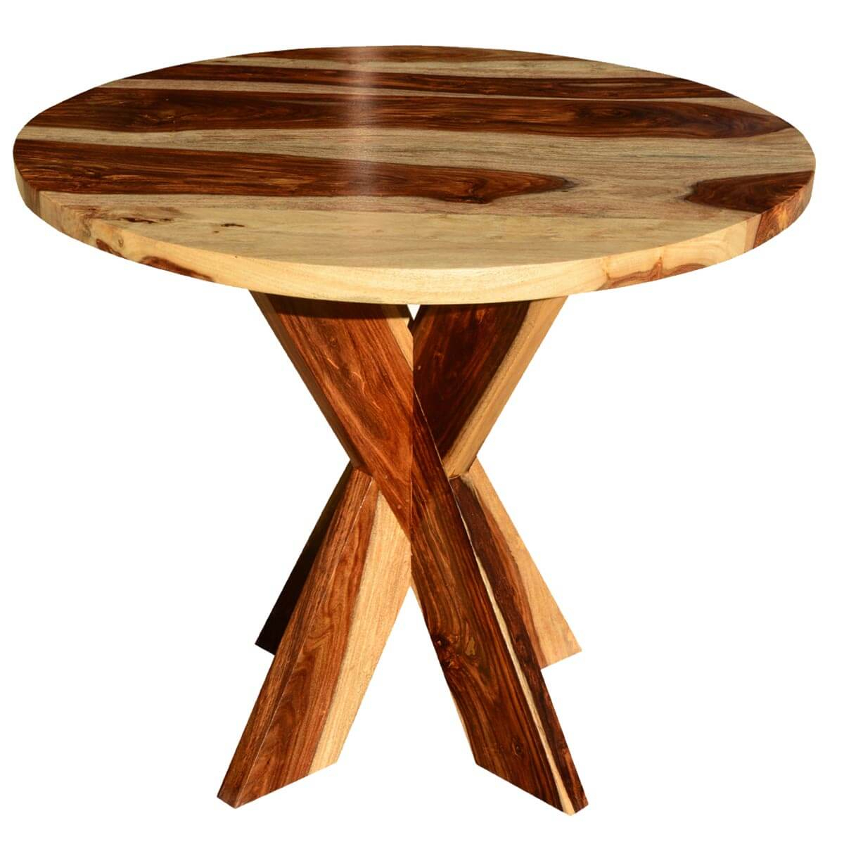 Dallas Solid Wood X Pedestal Round Dining Table With Latest Serrato Pedestal Dining Tables (View 9 of 15)
