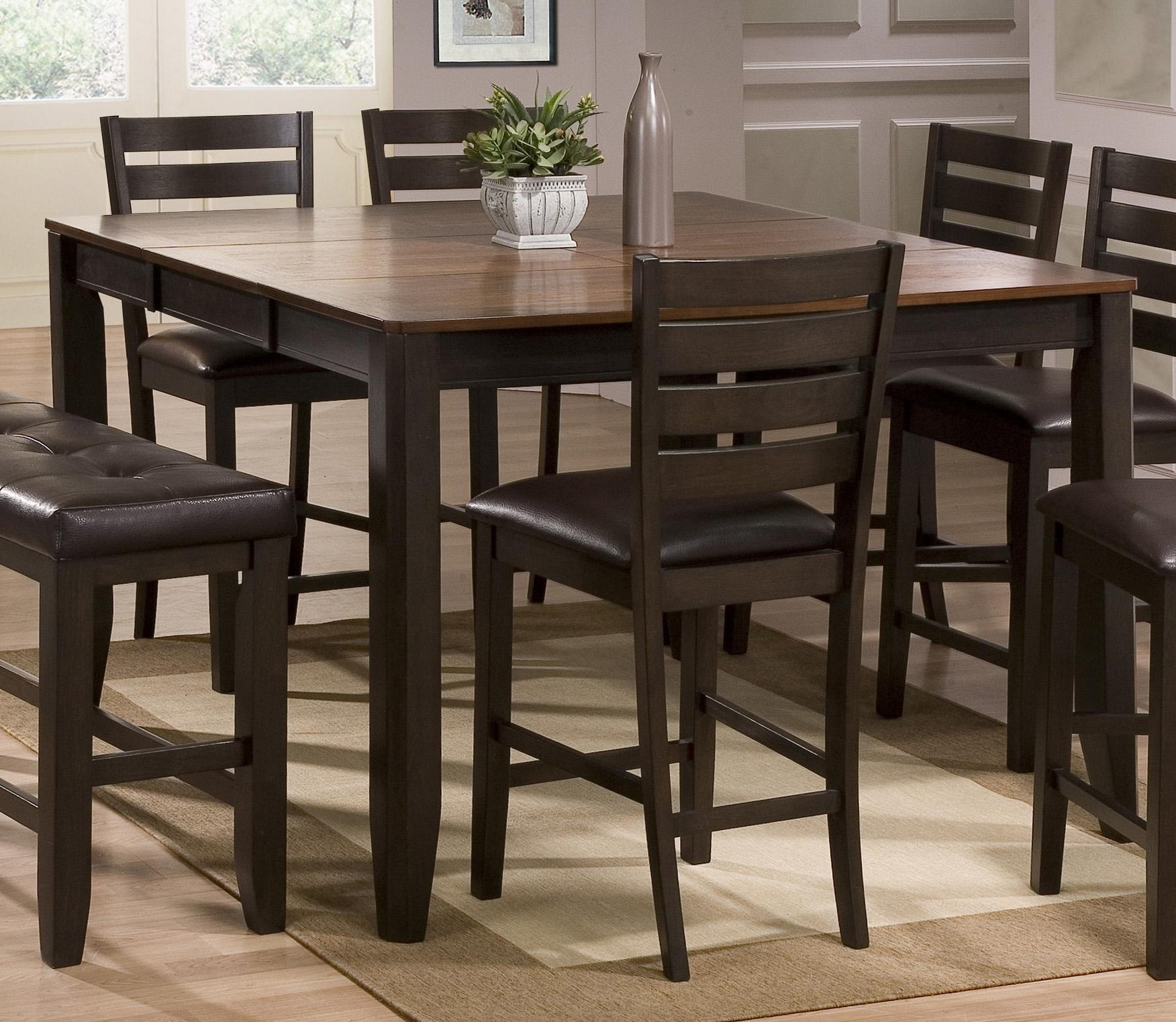 Dark Brown 5 Piece Counter Height Dining Set In Most Current Overstreet Bar Height Dining Tables (View 15 of 15)