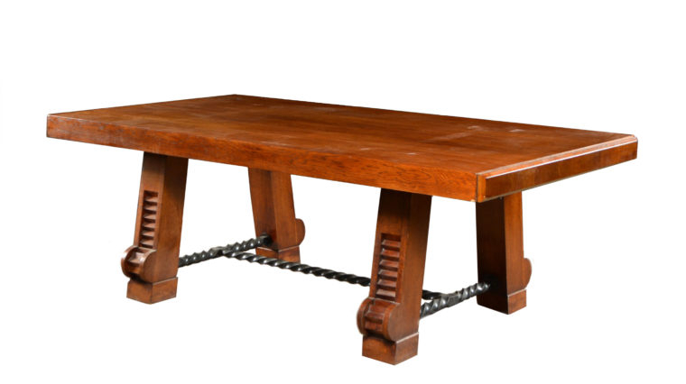 Deco Wood Dining Table With Iron Stretcher – Mecox Gardens Regarding Most Current Deonte 38'' Iron Dining Tables (View 9 of 15)