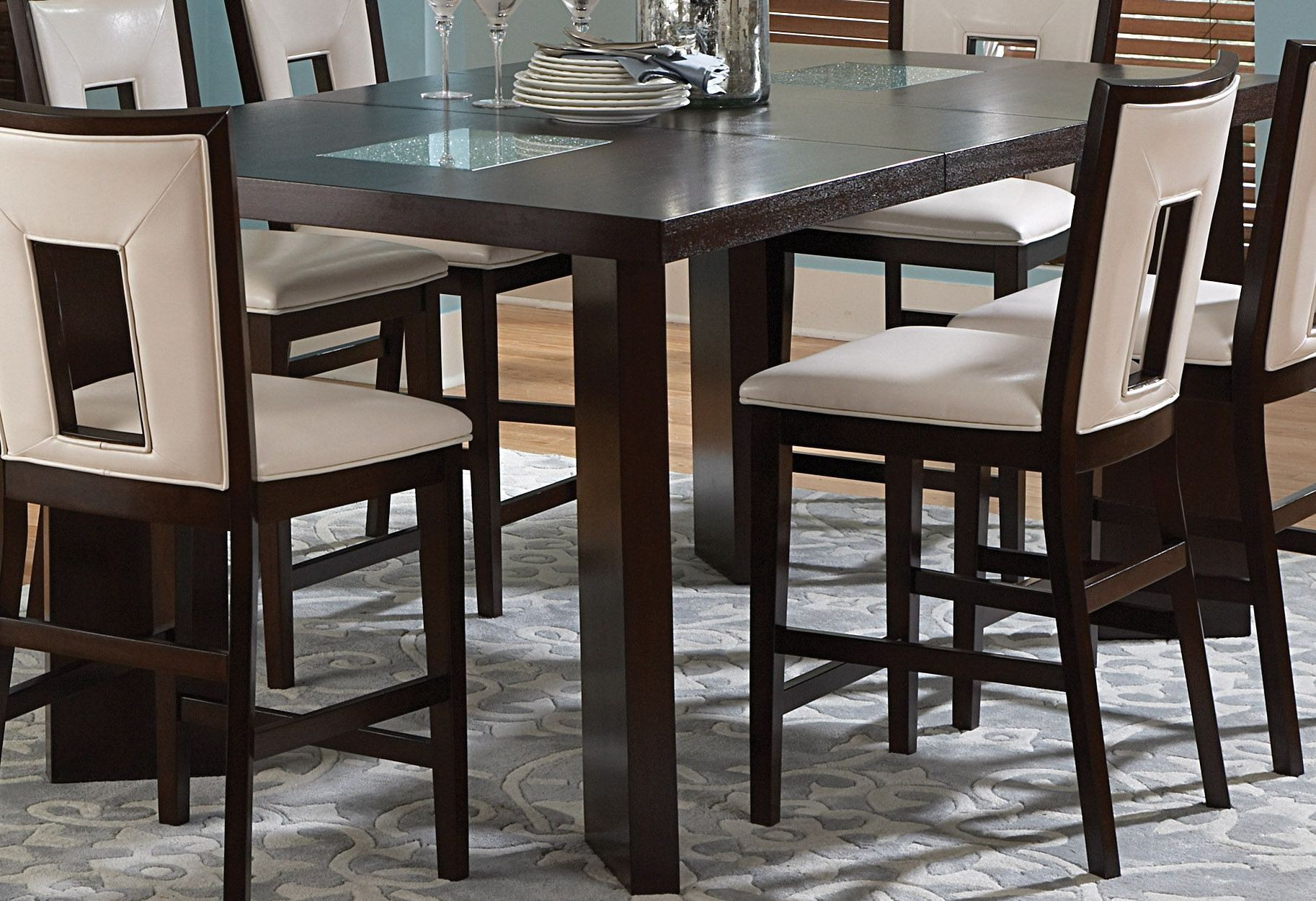 Delano Espresso Cherry Extendable Counter Height Dining Regarding Most Up To Date Overstreet Bar Height Dining Tables (View 4 of 15)