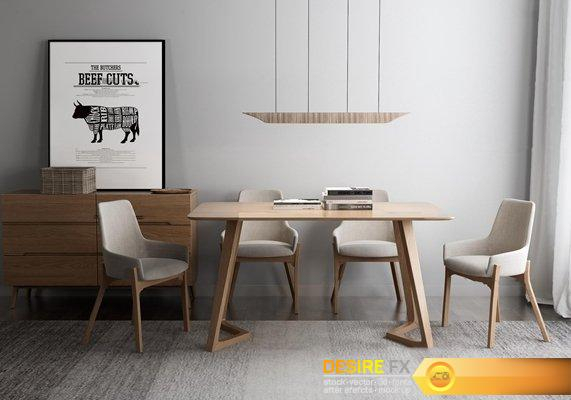 Desire Fx 3D Models | Dining Table Sets With Chairs 35 Throughout Latest Benji 35'' Dining Tables (View 5 of 15)