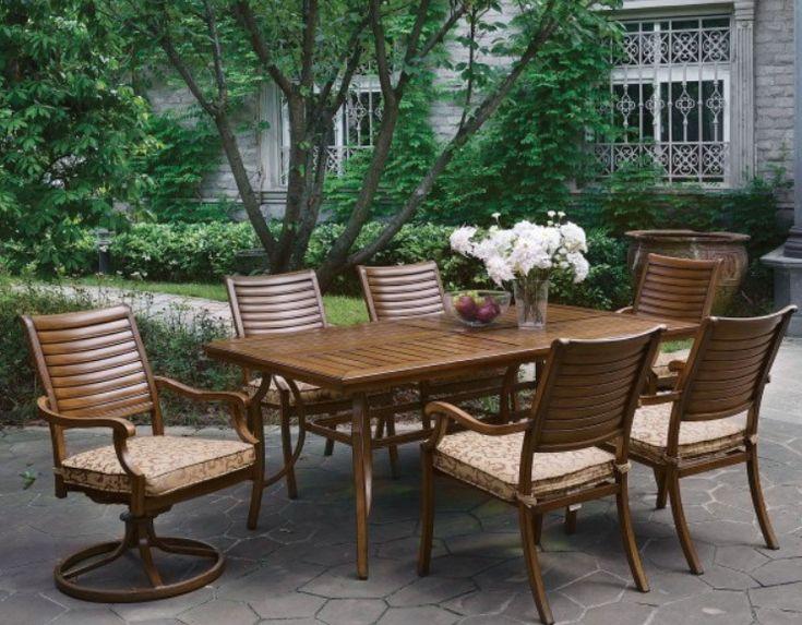 Desiree Brown Patio Rectangular Outdoor Dining Table Set With Regard To 2017 Desiree (View 14 of 15)