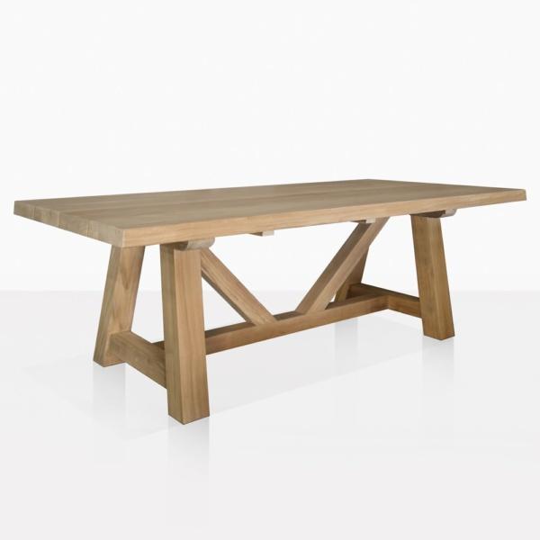 Devon Teak Outdoor Dining Trestle Tables | Teak Warehouse Intended For Current Kara Trestle Dining Tables (View 6 of 15)