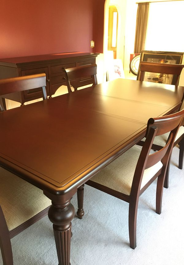 Dining Room Set 6 Chairs Table With Leaf China Hutch Regarding Best And Newest Steven 39'' Dining Tables (View 4 of 15)