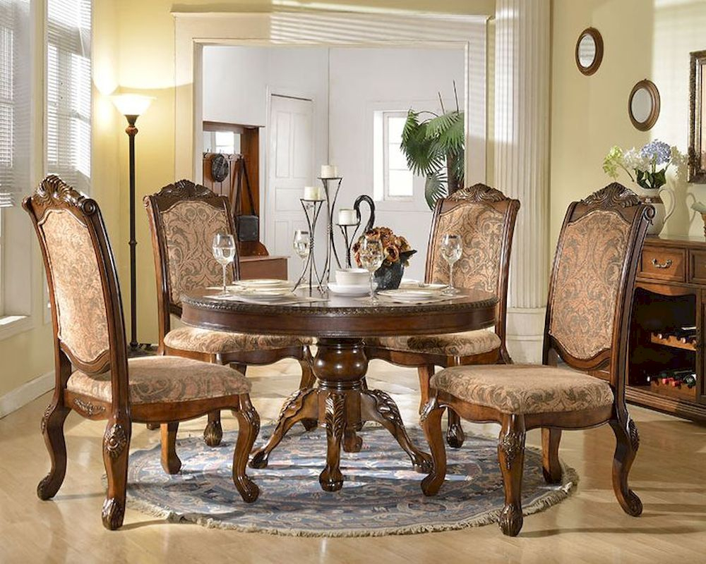 Dining Set W/ Round Dining Table In Traditional Style Within Most Up To Date Classic Dining Tables (View 7 of 15)