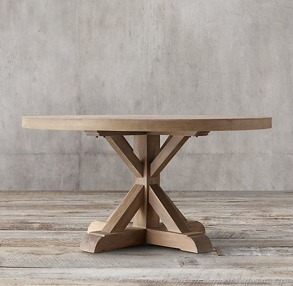 Distressed Elm Belgian Trestle Round Dining Table   Round In Best And Newest Leonila 48'' Trestle Dining Tables (View 9 of 15)