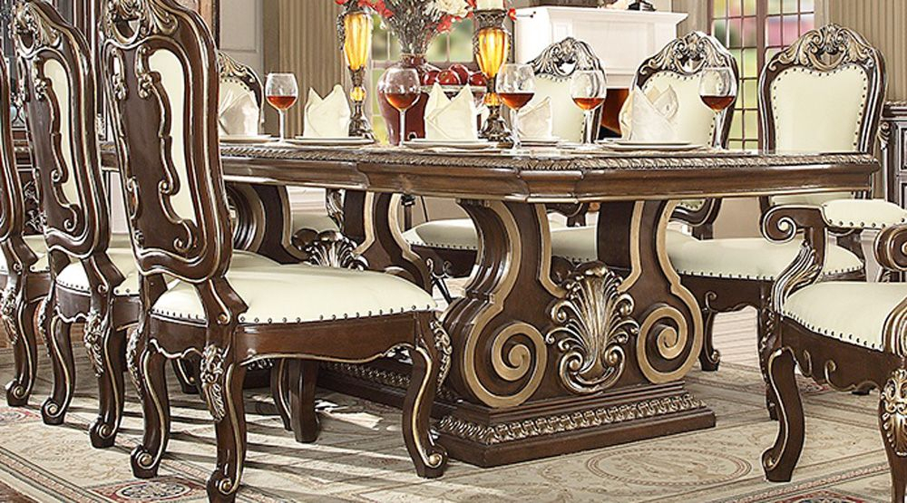 Double Pedestal Dining Room Table Set | Ebony Dining Table Pertaining To Most Up To Date Jazmin Pedestal Dining Tables (View 10 of 15)