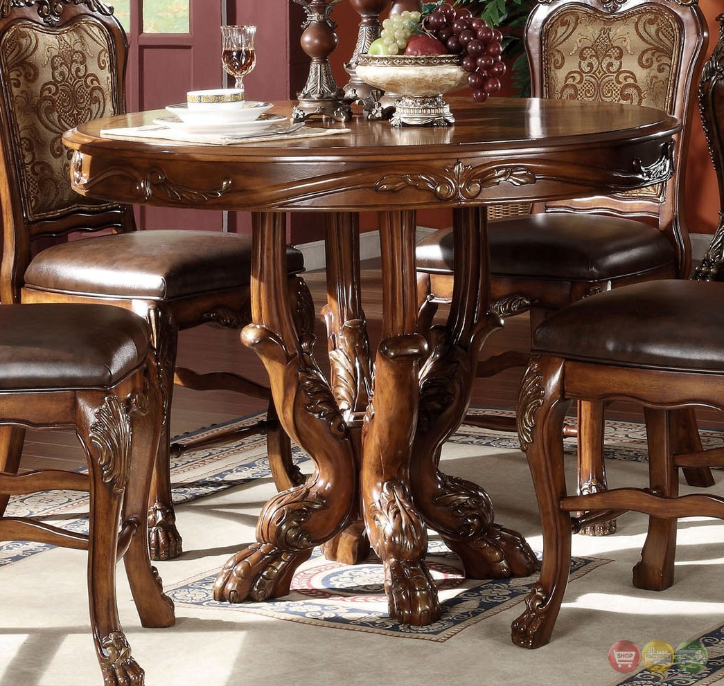 """Dresden Antique Style Wood Top 48"""" Counter Height Table In With Regard To Recent Barra Bar Height Pedestal Dining Tables (View 10 of 15)"""