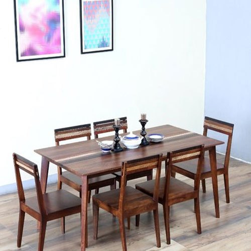 Dual Tone Solid Wood Brown Wooden Dining Table Set, Size With 2017 Elderton 30'' Solid Wood Dining Tables (View 9 of 15)
