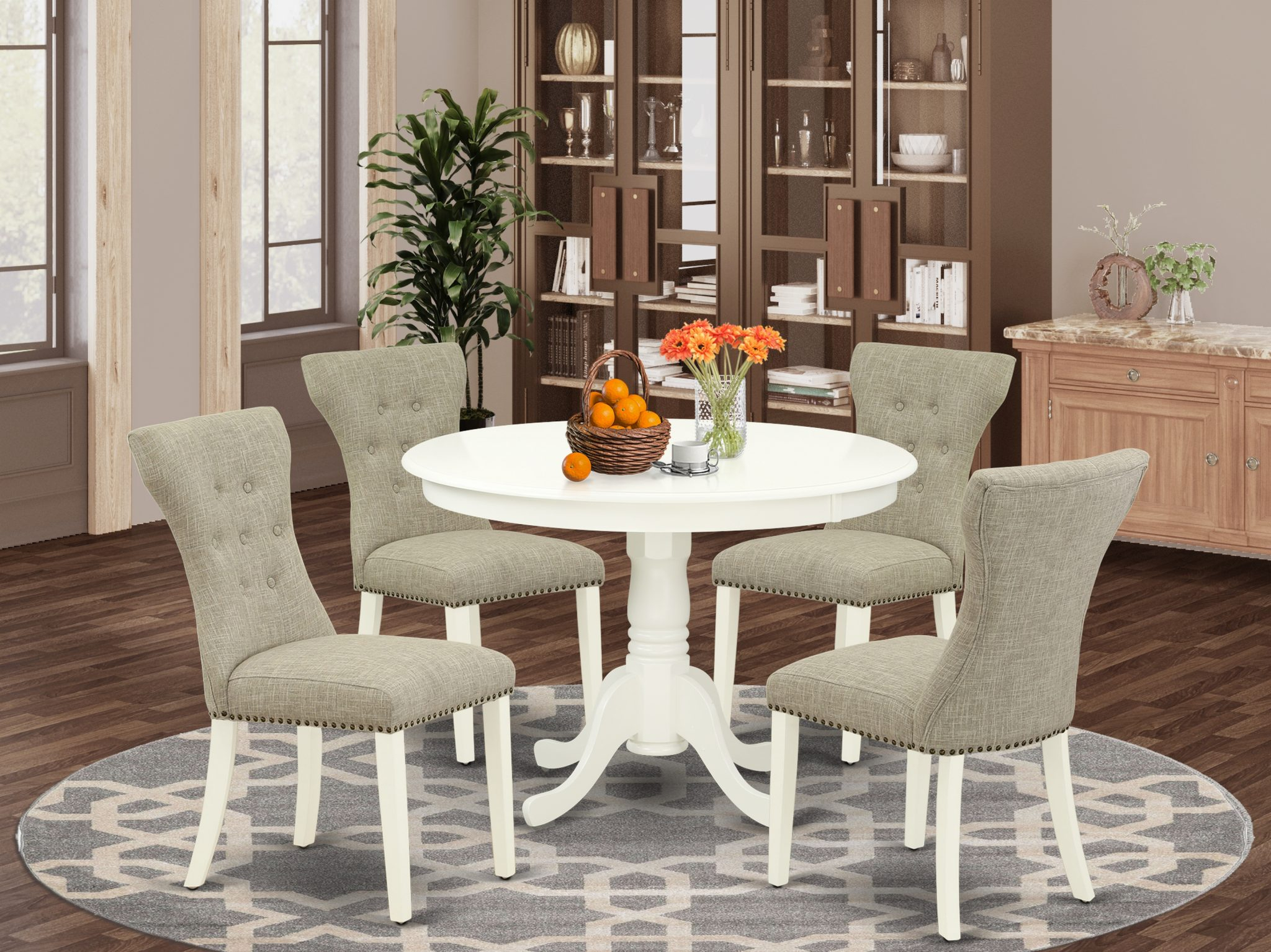 East West Furniture Hlga5 Lwh 35 5 Piece Small Dining Inside Most Up To Date Montauk (View 11 of 15)