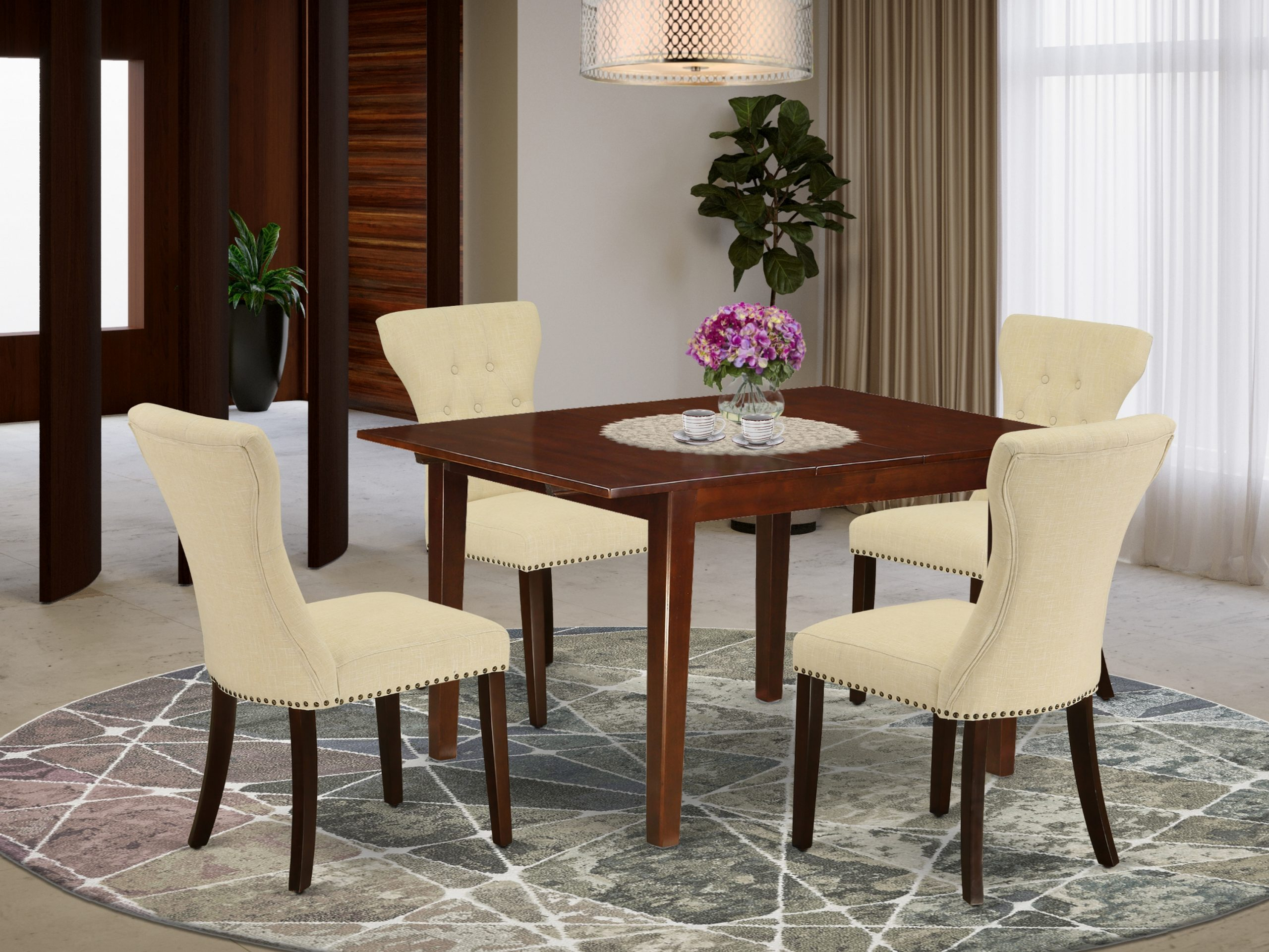 East West Furniture Mlga5 Mah 32 5 Piece Rectangular Intended For Most Up To Date Cainsville 32'' Dining Tables (View 2 of 15)
