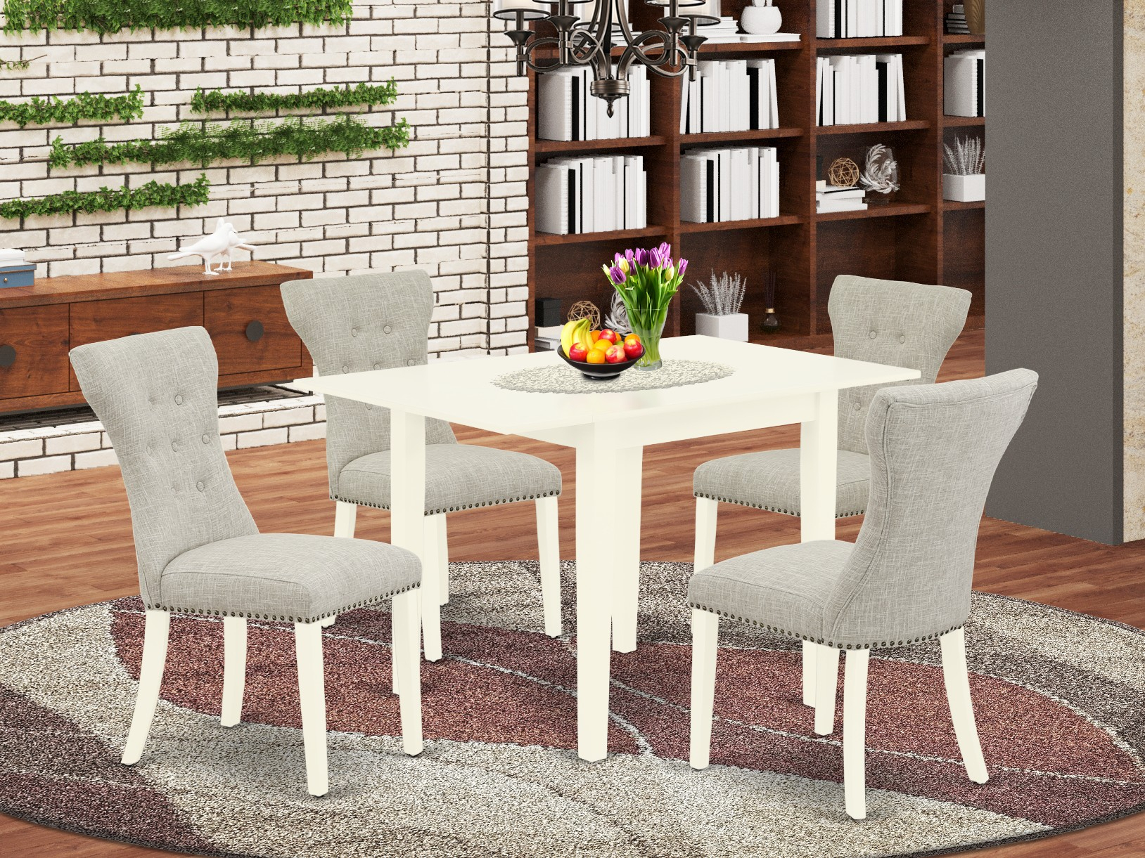East West Furniture Ndga5 Lwh 35 5 Piece Kitchen Table Set Inside Newest Benji 35'' Dining Tables (View 14 of 15)