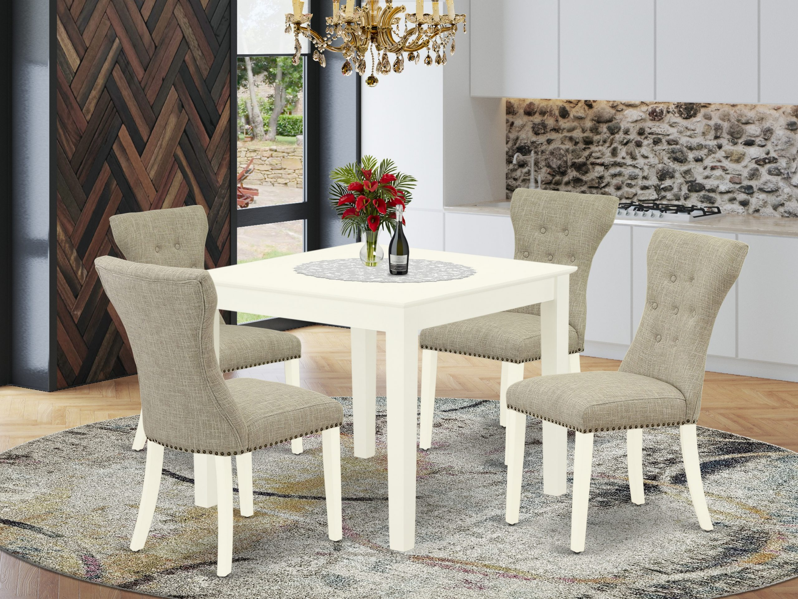 East West Furniture Oxga5 Lwh 35 5 Piece Kitchen Table Set Intended For Most Popular Montauk (View 9 of 15)