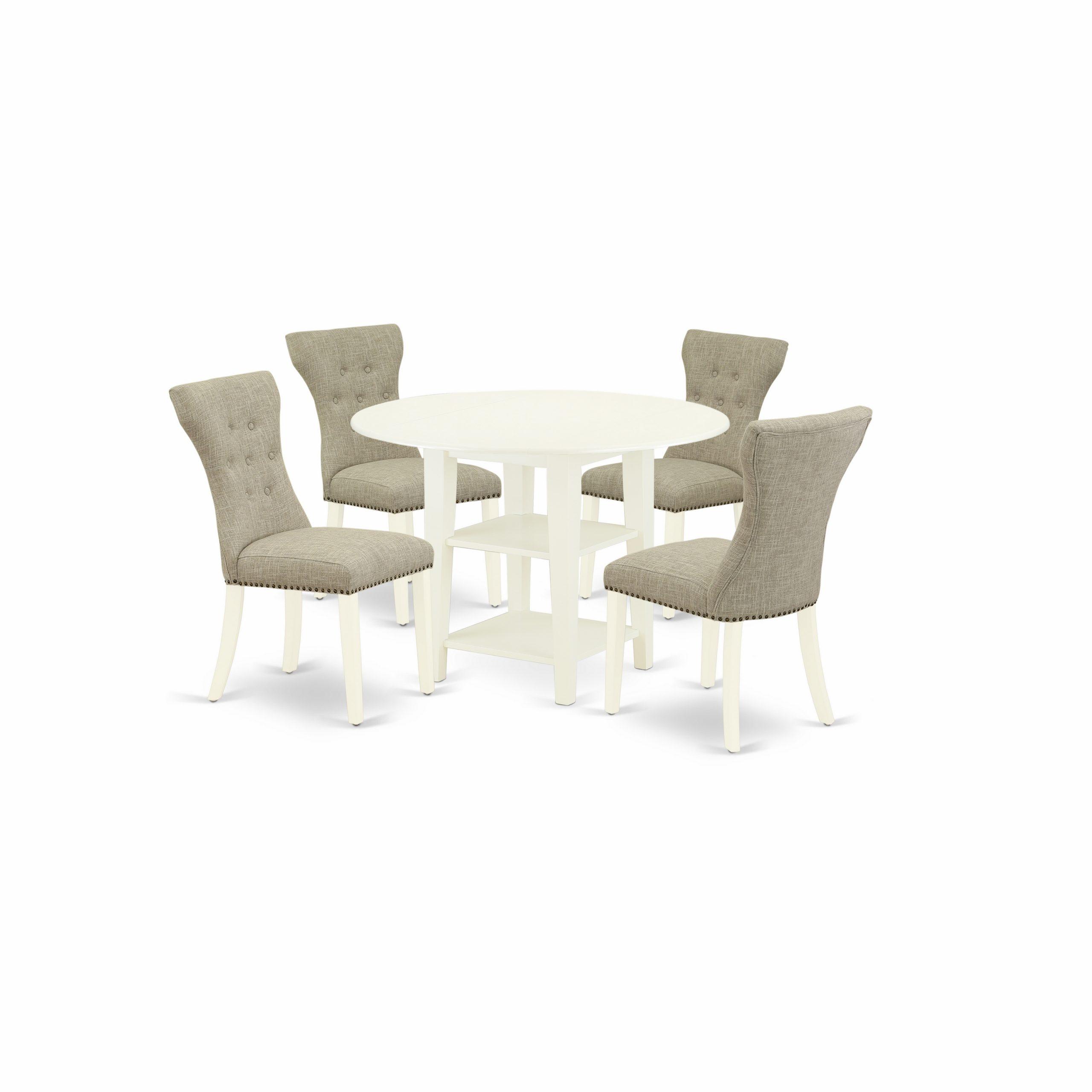 East West Furniture Suga5 Lwh 35 5 Piece Round Dining Regarding 2018 Montauk (View 7 of 15)