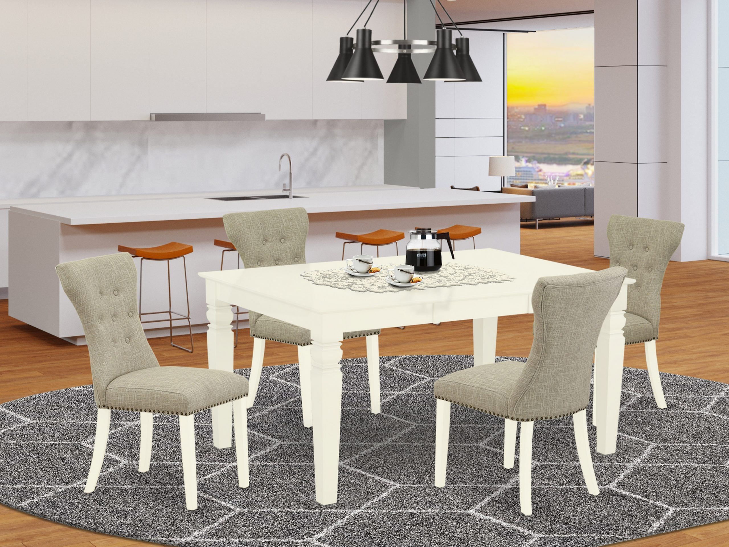 East West Furniture Wega5 Whi 35 5 Piece Modern Dining Throughout Most Recently Released Montauk (View 12 of 15)