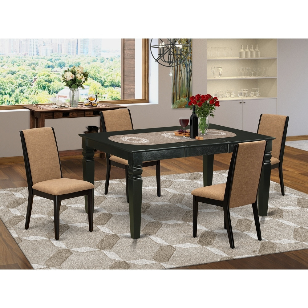 East West Furniturewela5 Blk 47 5 Pc Dining Table Set  4 Throughout 2017 Larkin  (View 3 of 15)