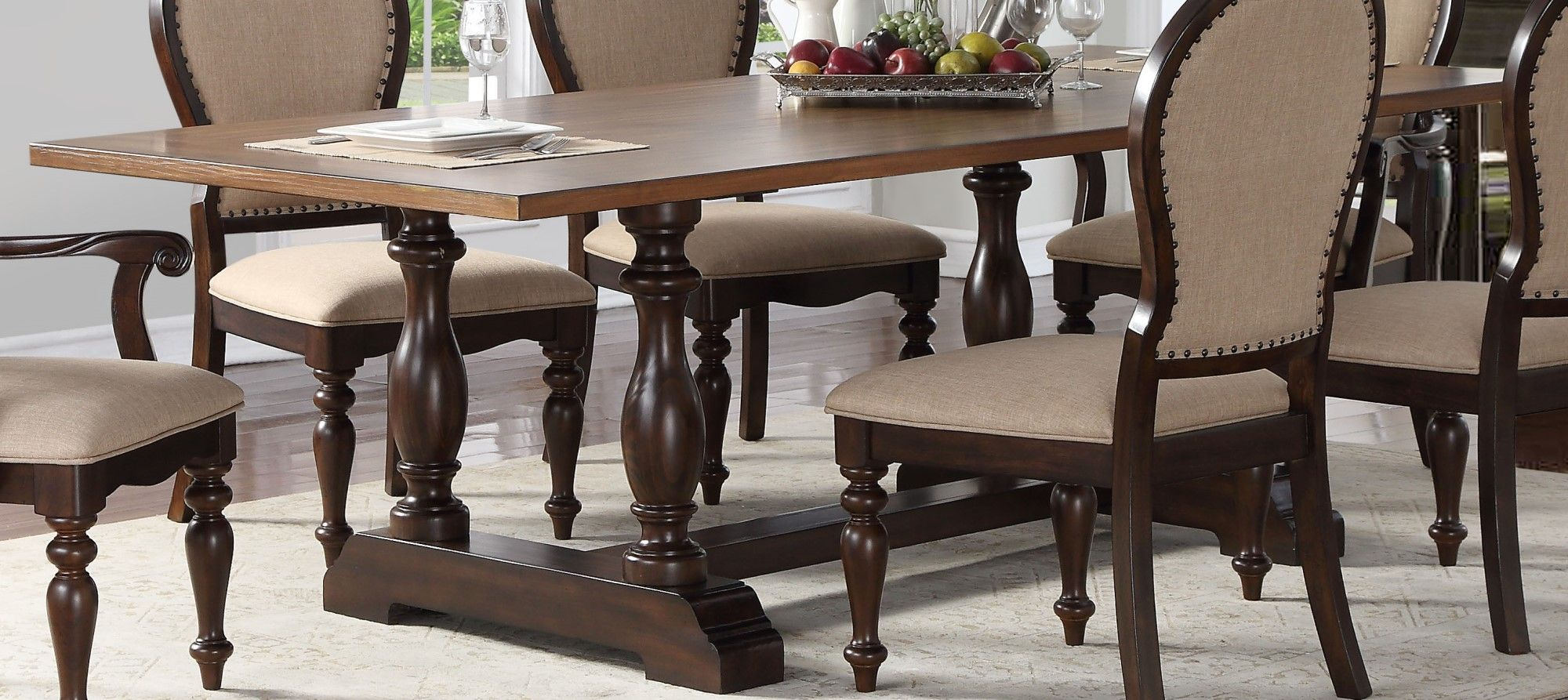 """Edenburgh 92"""" Solid Wood Dining Table With Oversized In 2017 Trestle Dining Tables (Photo 5 of 15)"""