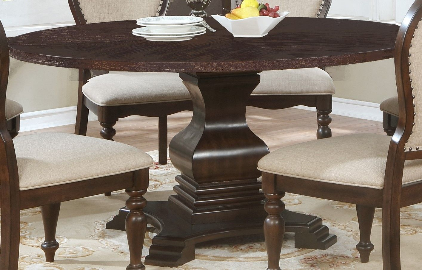 """Edenburgh Traditional 60"""" Solid Wood Carved Round Pedestal With Regard To Most Popular 28'' Pedestal Dining Tables (View 3 of 15)"""