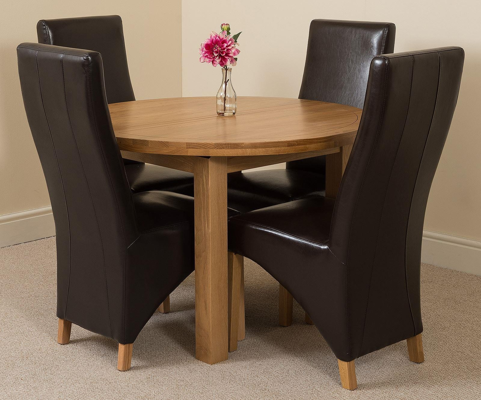 Edmonton Solid Oak Extending Oval Dining Table With 4 Lola For Current Hetton 38'' Dining Tables (View 12 of 15)