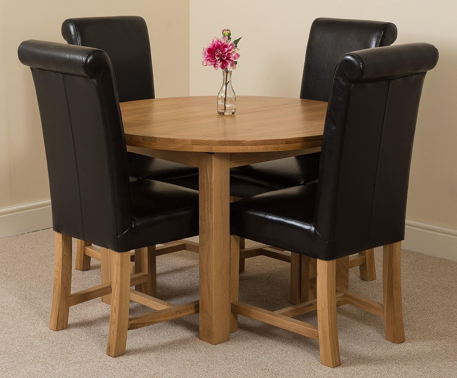 Edmonton Solid Oak Extending Oval Dining Table With 4 With 2017 Eleni 35'' Dining Tables (View 15 of 15)