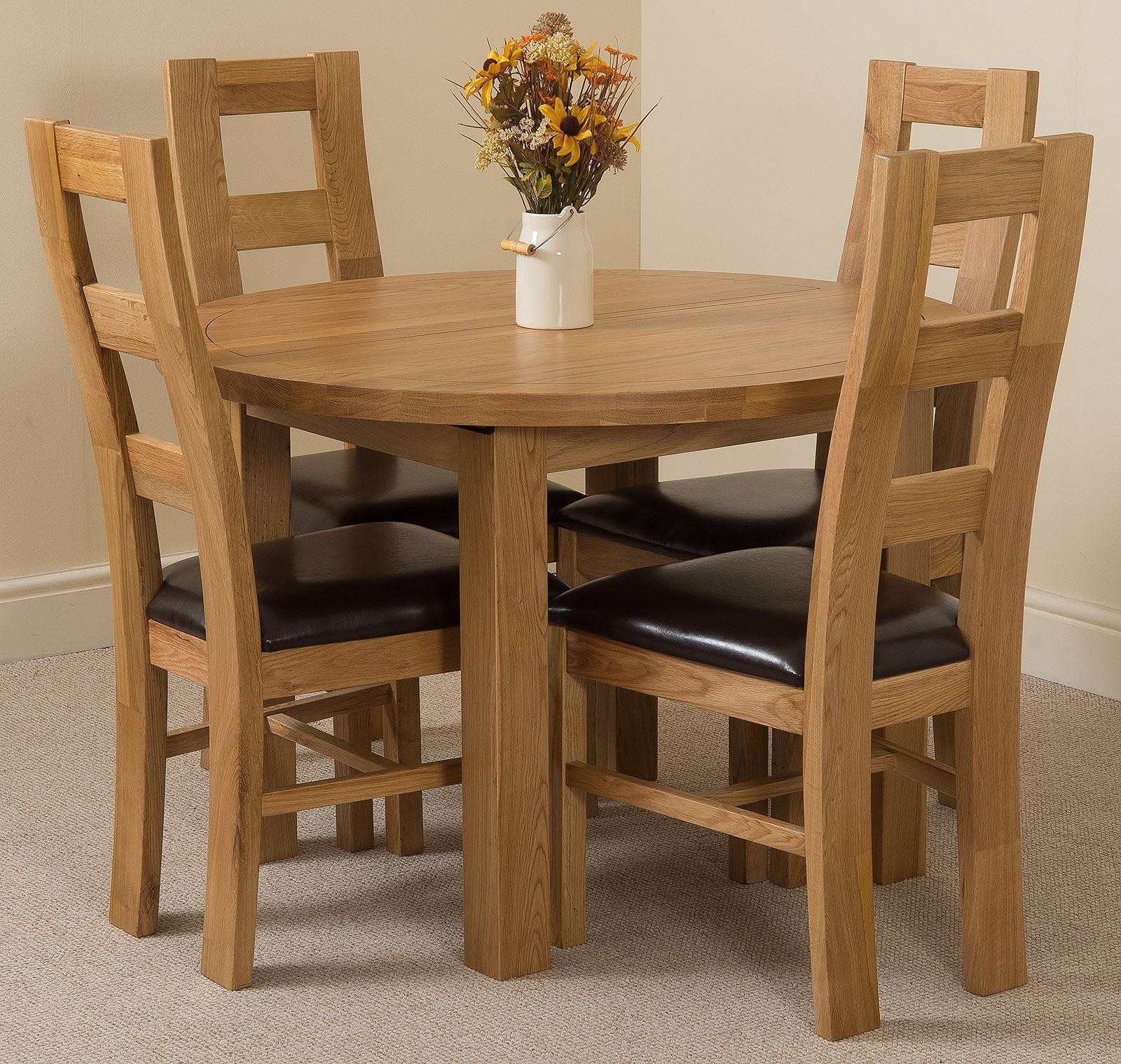 Edmonton Solid Oak Extending Oval Dining Table With 4 Yale Throughout Most Recently Released Adejah 35'' Dining Tables (View 10 of 15)