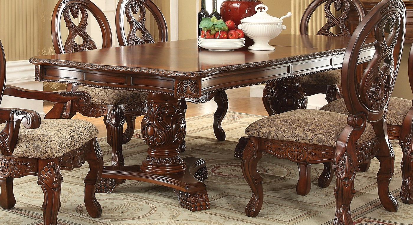 """Emiliano Traditional 5 Pc Cherry 80"""" 120"""" Double Pedestal In Newest Serrato Pedestal Dining Tables (View 13 of 15)"""