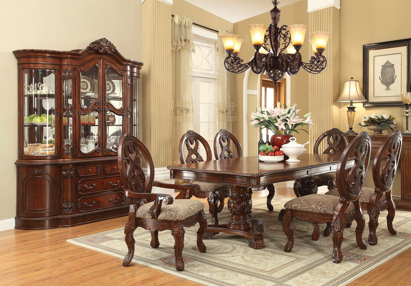 """Emiliano Traditional 5 Pc Cherry 80"""" 120"""" Double Pedestal Inside Most Recently Released Dawna Pedestal Dining Tables (View 9 of 15)"""