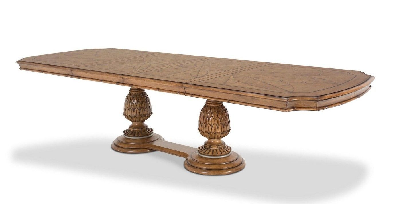 """Excursions 78' 125"""" Double Pedestal 5 Pc Dining Table Set Regarding Recent Jazmin Pedestal Dining Tables (View 5 of 15)"""
