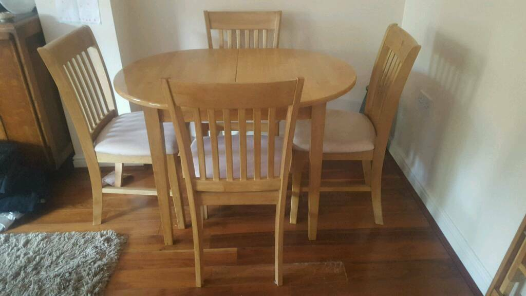Extendable Oval Oak Dining Table And 4 Chairs | In Milton Within Most Popular Milton Drop Leaf Dining Tables (View 6 of 15)