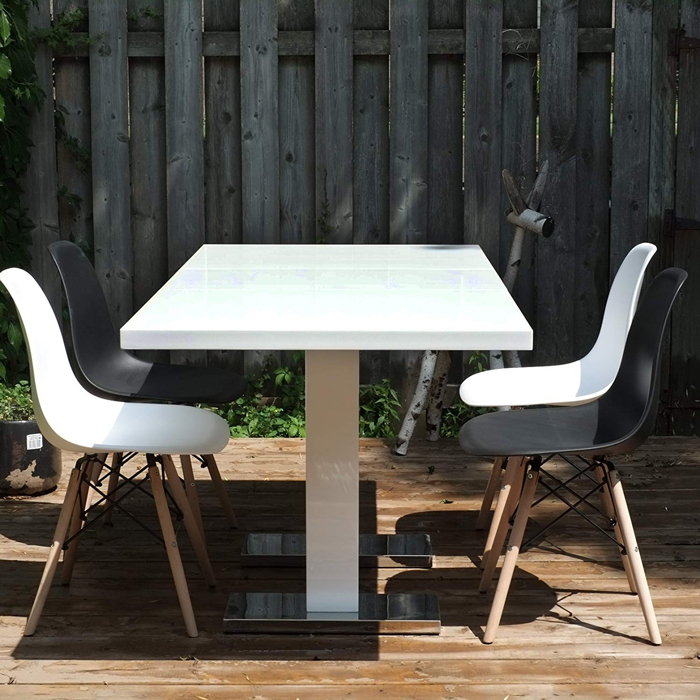 Extendible Dining Table In White (Hg14110 E 1 Regarding Most Up To Date Granger  (View 11 of 15)