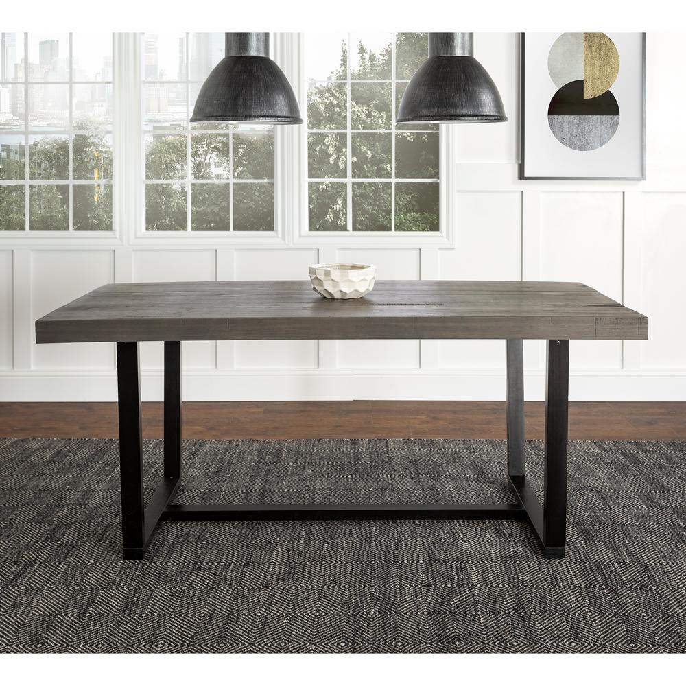 Farmhouse Kitchen Dining Table Industrial Distressed Solid Within Latest Minerva 36'' Pine Solid Wood Trestle Dining Tables (View 14 of 15)
