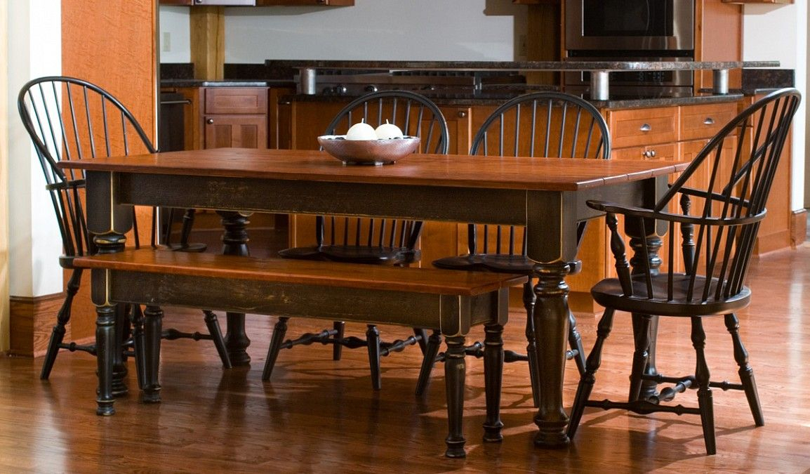 Farmhouse Tables With Red Cherry Top, Black Base Turned Throughout Most Up To Date Aulbrey Butterfly Leaf Teak Solid Wood Trestle Dining Tables (View 15 of 15)