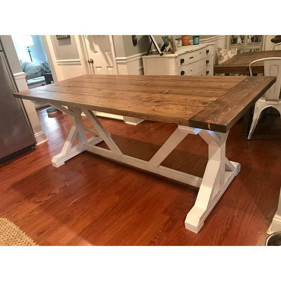 Farmhouse Trestle Dining Table Local Pickup/Delivery Only Intended For Newest Alexxes 38'' Trestle Dining Tables (View 10 of 15)