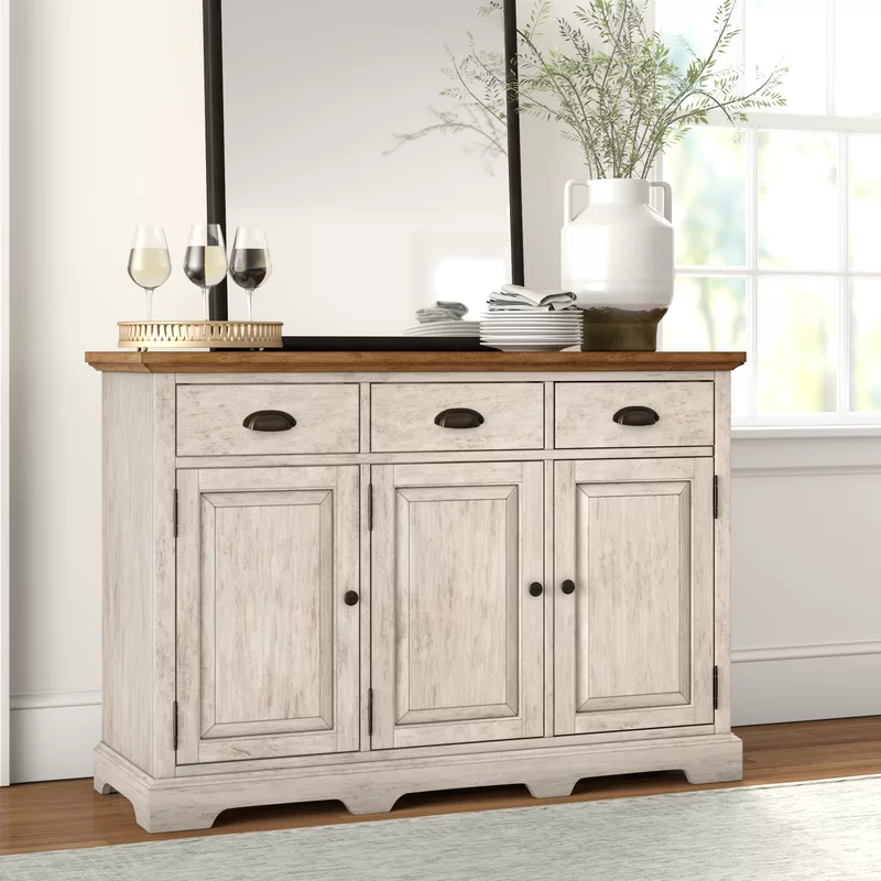 """Fortville 52"""" Wide 3 Drawer Rubberwood Wood Sideboard Pertaining To Most Popular Lewin Dining Tables (View 10 of 15)"""