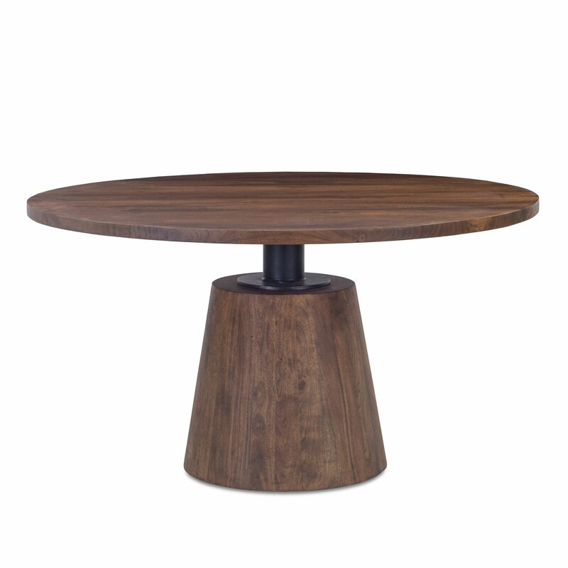 Foundry Select Deleon Acacia Solid Wood Dining Table In Most Current Folcroft Acacia Solid Wood Dining Tables (View 7 of 15)