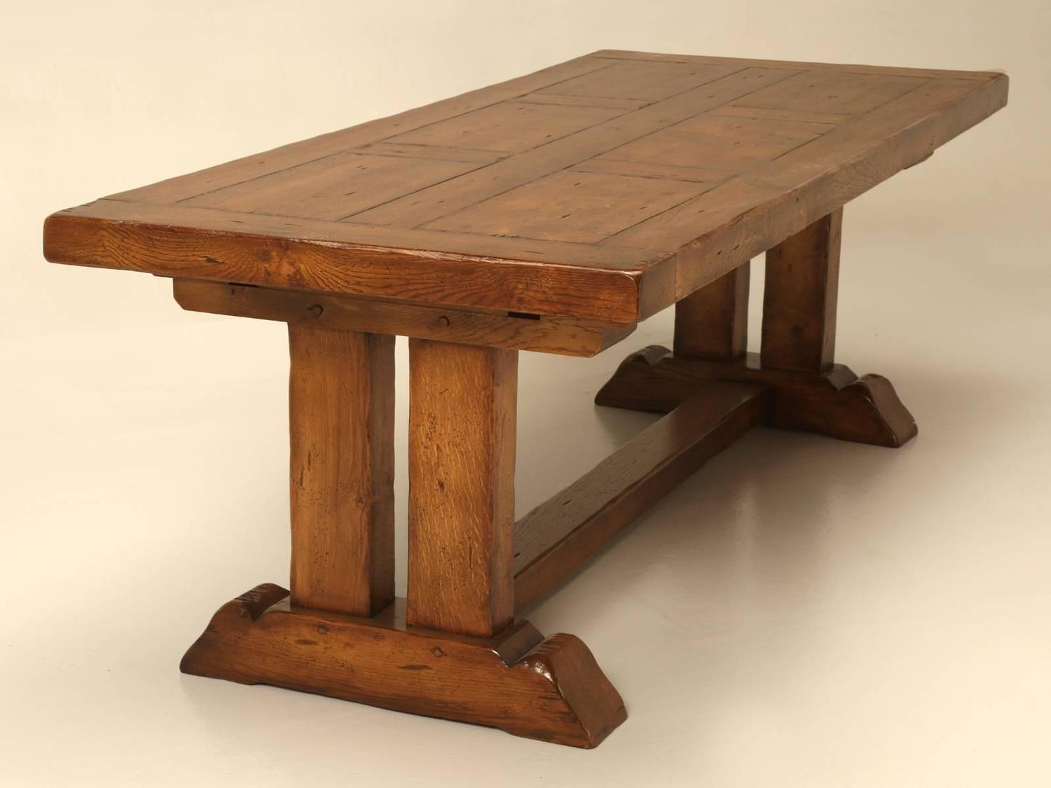 French Oak Trestle Dining Table With Two Leaves For Sale With Most Recent Trestle Dining Tables (View 7 of 15)