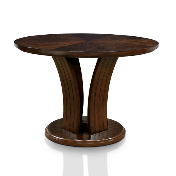 Furniture Of America Crezena Flared Pedestal Dark Oak Within Best And Newest Bushrah Counter Height Pedestal Dining Tables (View 9 of 15)