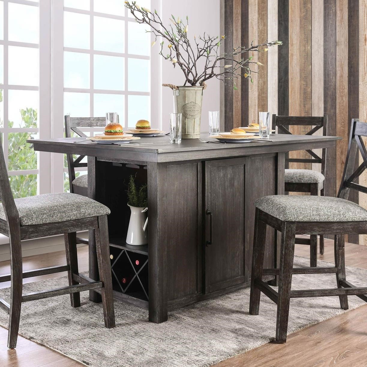 Furniture Of America – Foa Faulkton Cm3391Pt Table Counter Intended For Most Current Nakano Counter Height Pedestal Dining Tables (View 14 of 15)