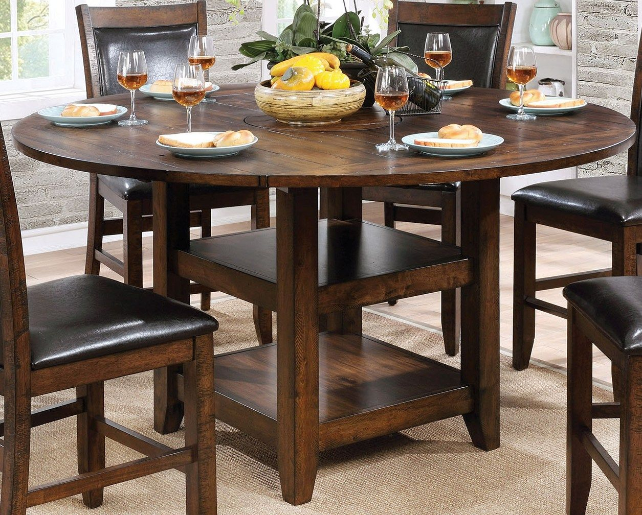 Furniture Of America Meagan Ii Brown Cherry Round Counter For Current Dallin Bar Height Dining Tables (View 14 of 15)