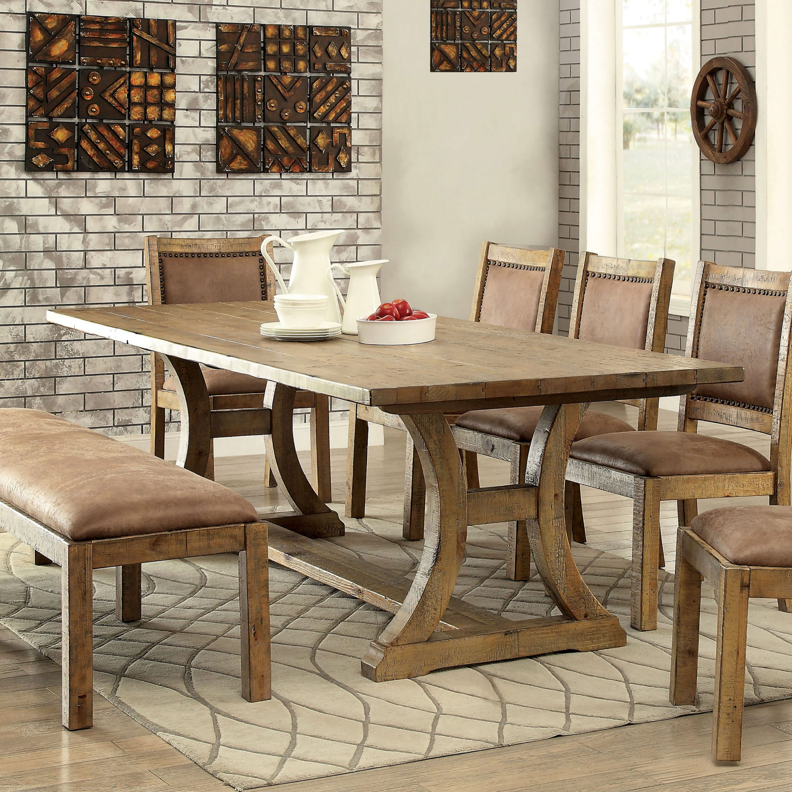 Furniture Of America Roseanne Trestle Base Dining Table Within 2018 Alexxia 38'' Trestle Dining Tables (View 14 of 15)