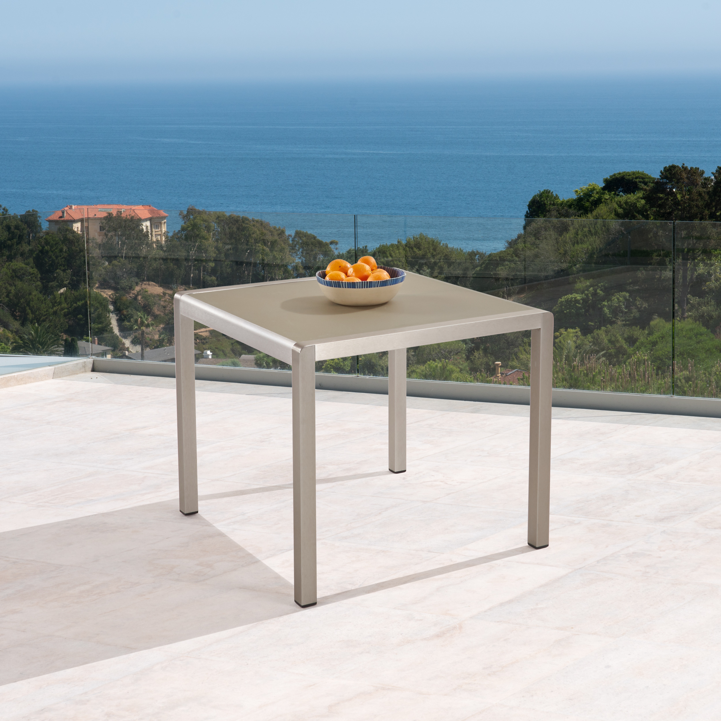 Gannon Outdoor Anodized Aluminum Square Dining Table With Inside Most Recently Released Hetton 38'' Dining Tables (View 13 of 15)
