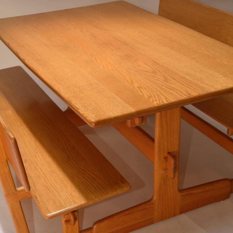 Gerald Mccabe Oak Trestle Dining Table And Benches For With Regard To Most Recently Released Alexxes 38'' Trestle Dining Tables (View 2 of 15)