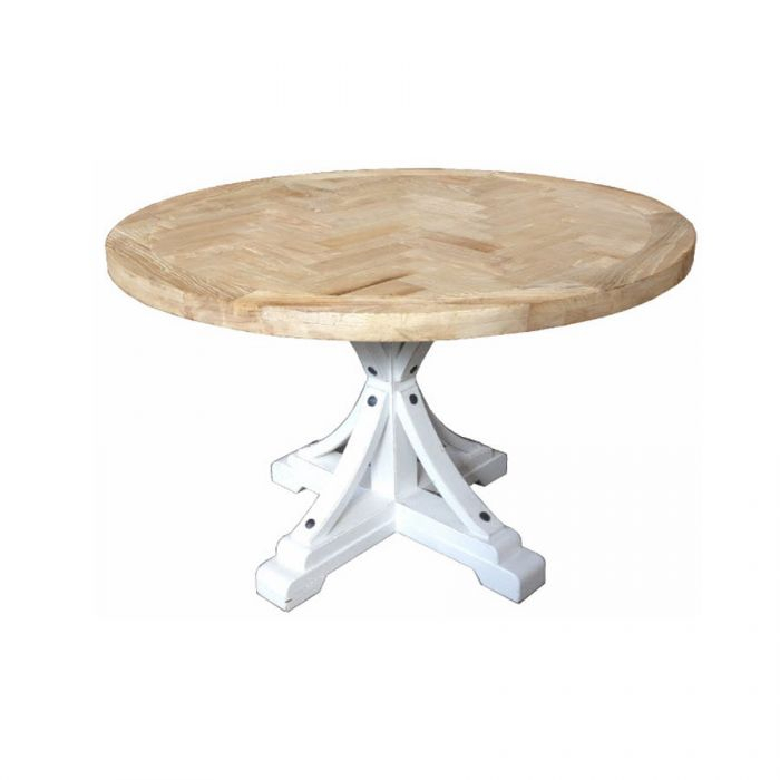 Gibraltar Round Dining Table Natural Top & White Base Inside Most Current Yaqub 39'' Dining Tables (View 13 of 15)