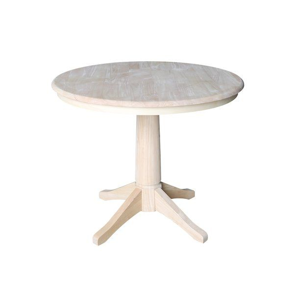 Gilberton Solid Wood Dining Table | Round Pedestal Dining Inside Most Recent Rubberwood Solid Wood Pedestal Dining Tables (View 14 of 15)