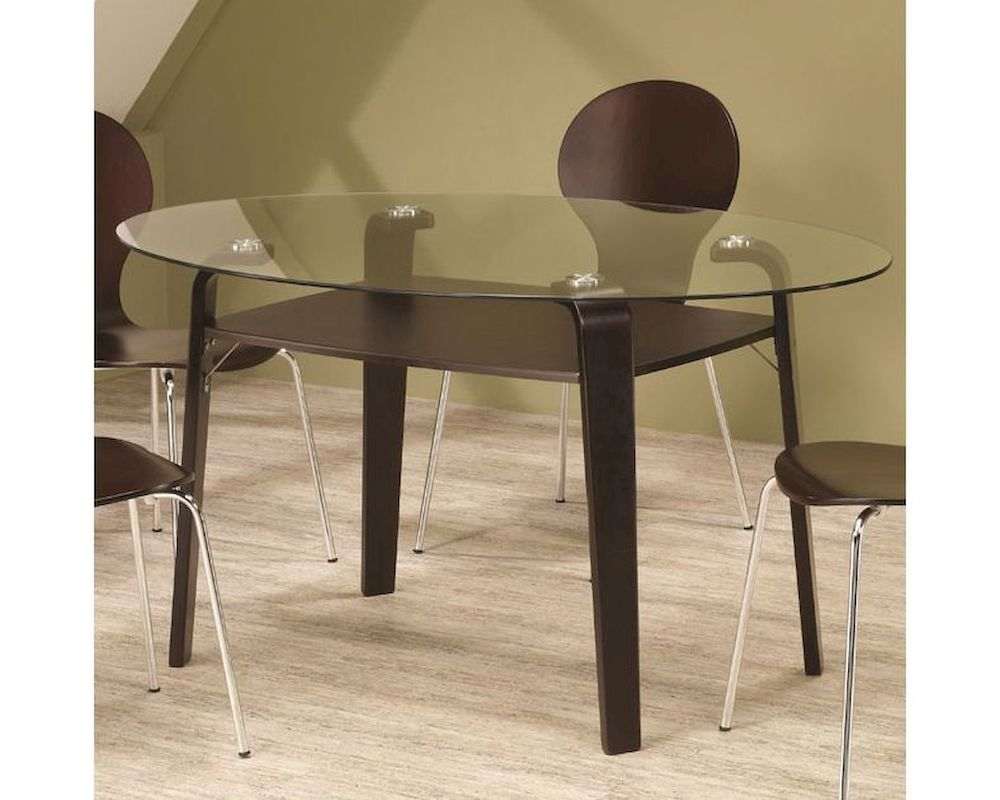 Glass Top Oval Contemporary Dining Table – Walmart With Most Recently Released Steven 39'' Dining Tables (View 6 of 15)