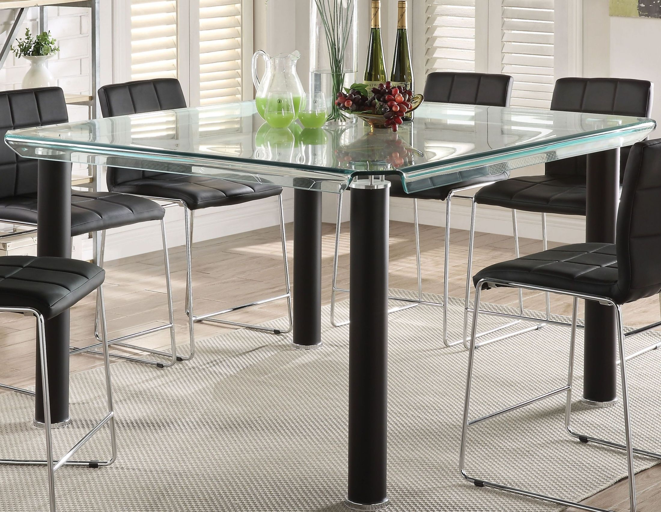 Gordie Black And Clear Glass Counter Height Dining Table With Most Up To Date Romriell Bar Height Trestle Dining Tables (View 12 of 15)